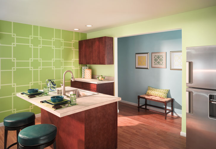 Green Accent Kitchen Wall