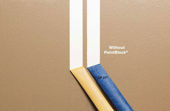 FrogTape® Delicate Surface painter's tape versus blue tape (CP 27®) side-by-side comparison