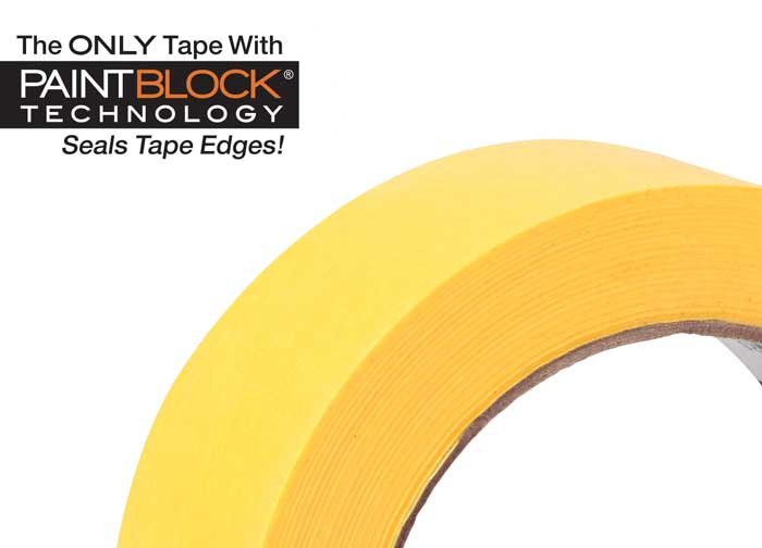 FrogTape® Delicate Surface painter's tape up close with PaintBlock® Technology logo.