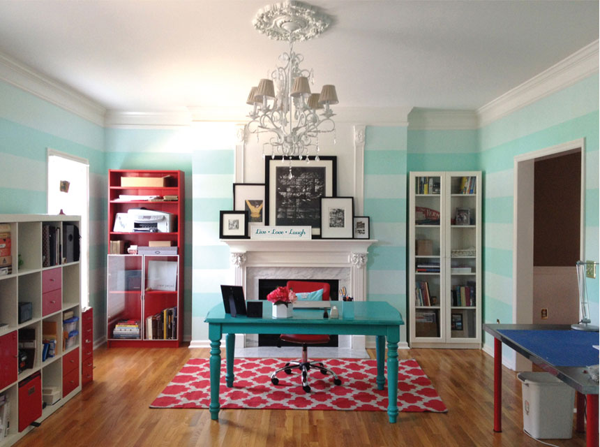 Blue striped accent walls