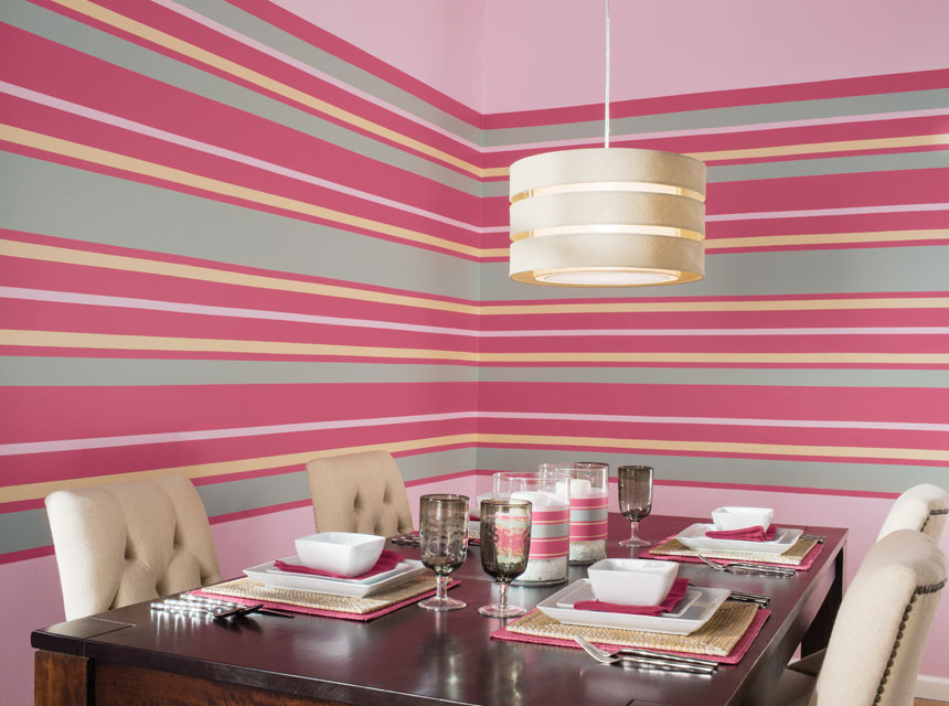 Red and green striped dining room