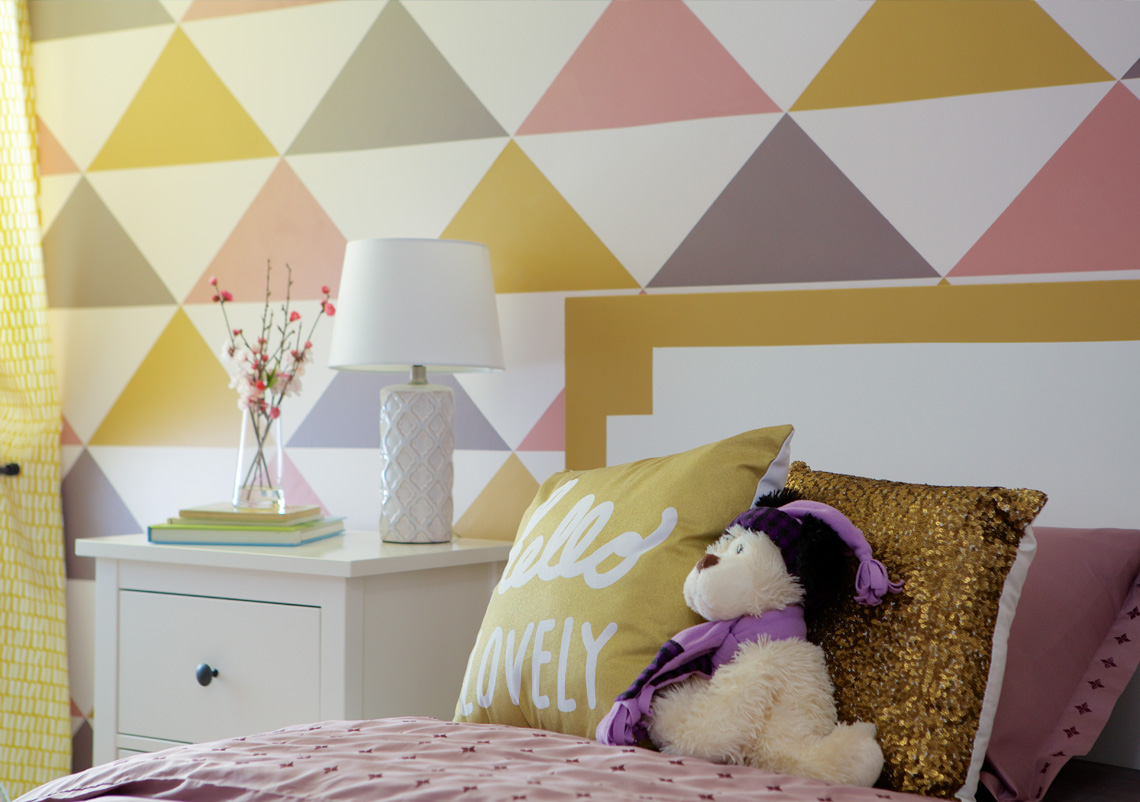 Bright triangle-patterned accent wall