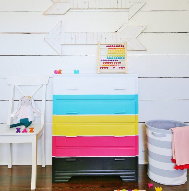 colorful dresser makeover image