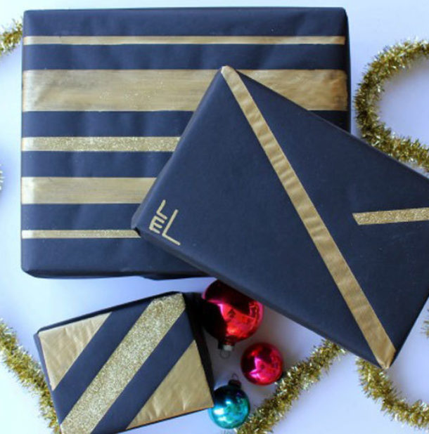 diy black and gold wrapping paper image