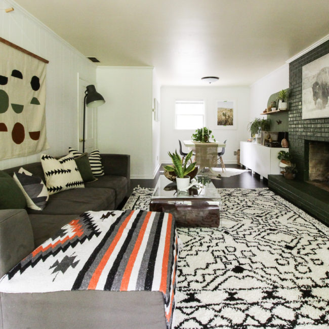Cassie Bustamante Frogtape After Option 2 Modern Boho Green Natural Family Room Color Block Wall 0027