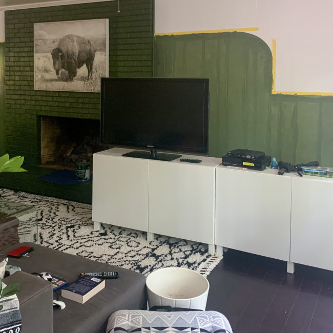 Cassie Bustamante Progress Photo Modern Boho Green Natural Family Room Color Block Wall Diy Tapestry 8193